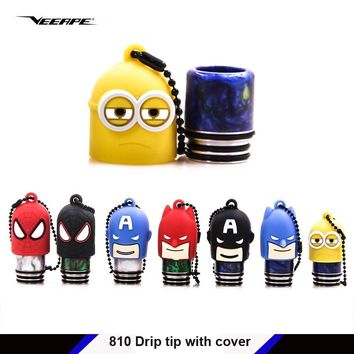 Veeape veeape 810 drip tip with cover mouthpiece with cover for Captain America Batman Spiderman Minions E-cig sanitary cap