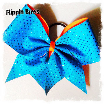 Teal and Orange Summer Fun Cheer Bow