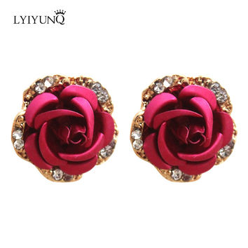 2015 popular fashion gold plated rose flowers crystal earrings female Indian wedding brincos jewelry