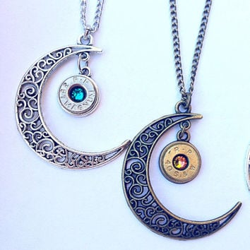 Bullet jewelry. Crescent moon necklace. Bullet necklace