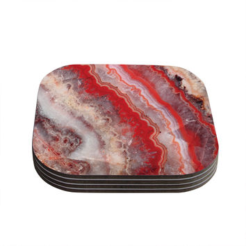"KESS Original ""Red Lace Agate"" Orange Abstract Coasters (Set of 4)"