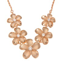 PINK ROSE GOLD PLATED SILVER 925 5 HAWAIIAN PLUMERIA FLOWER NECKLACE LARGE