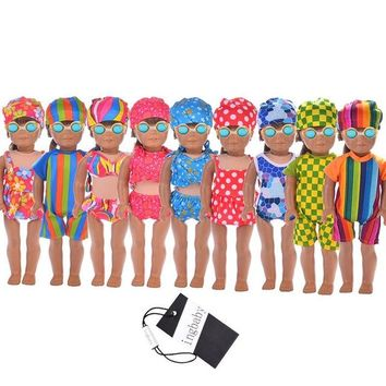 Swimming Pool beach 18 Inch American Girl Doll Clothes Swimwear&swim Cap Set Barbie ClothesDress Up Clothing Fashion Doll Swimwear ingbaby WJ1124Swimming Pool beach KO_14_1