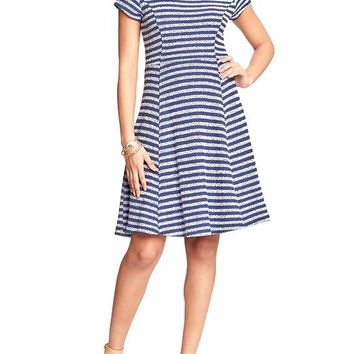 Old Navy Womens Striped Terry Fleece Dresses