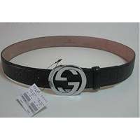 MENS FASHION BLACK LEATHER BELT GUCCI BELT