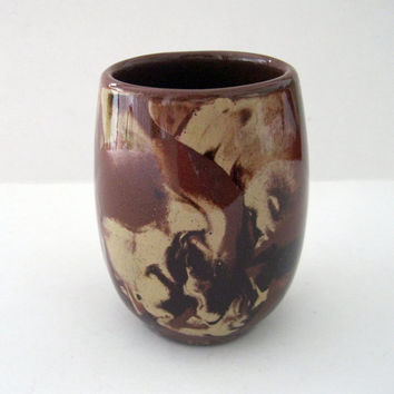Clays in Calico Tumbler Glass Vase Brown and Beige High Gloss Mid Century Montana Art Pottery Vase -FL