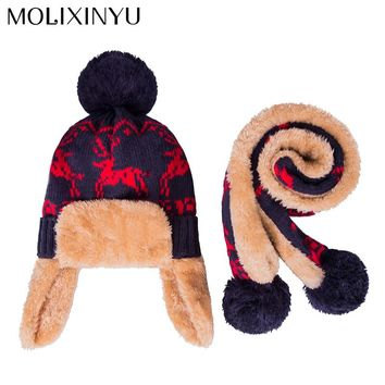 MOLIXINYU 2pcs/lot Baby Winter Hat & Scarf Baby Winter Cap Children Warm Scarf For Boys Suit Beanie Hats Scarfs For Girl Boy