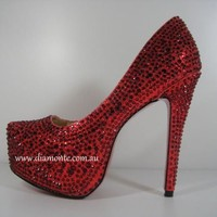 Ladies Red Heel Platform Shoes Rhinestone Crystals US 4 - 11 EUR 35 - 42 608