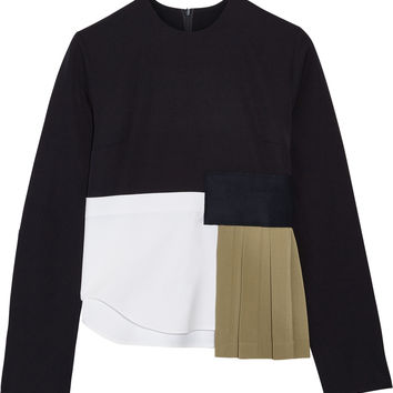 Jacquemus - Paneled wool-crepe, wool-twill and stretch-cotton poplin top