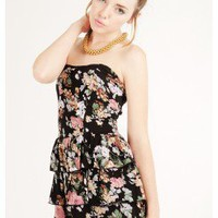FLORAL PRINT TUBE DRESS @ KiwiLook fashion