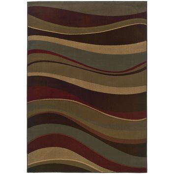 Tybee Beige Green Abstract Waves Contemporary Rug