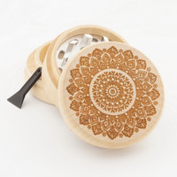 "Wood Grinder - Flower Mandala - 2"" Custom Herb Grinder - Spirit Series"