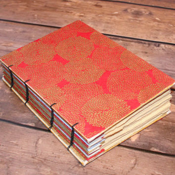 Red and Gold Wedding Guestbook, Anniversary Gift, Gold Foiled Journal, Sign in Book, Unique Gifts for Her