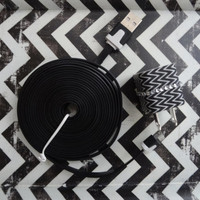 New Super Cute Black & White Zig Zag Design Wall iphone 4/4s Charger + 10ft cable cord Super Long