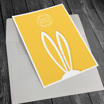 Happy Easter Card Printable, Easter Greeting Card, Bunny Printable, Bunny Card Printable, Easter Printable, Funny Easter Card