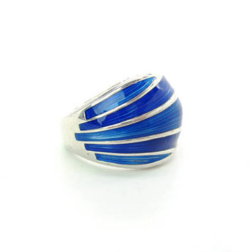 Blue Enamel Ring. Sterling Silver Norway David Andersen Guilloche. Vintage Mid Century Modern Scandinavian Norwegian Jewelry