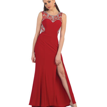Red Illusion Sweetheart Sequin High Slit Dress 2015 Prom Dresses