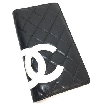CHANEL Quilted Ligne Cambon Vertical CC Logo Wallet