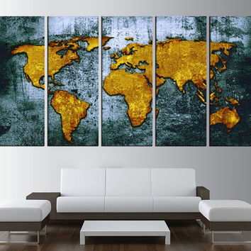 Large world map wall art canvas print, large world map art, extra large wall art, ready to hang vintage canvas art t493