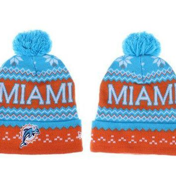ESB8KY Miami Dolphins Beanies New Era NFL Football Caps
