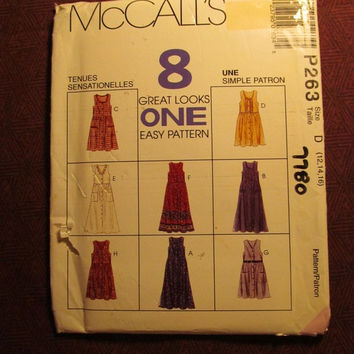 Sale Uncut 1995 McCall's Sewing Pattern, P263! 12-14-16 Medium/Large/Women's/Misses/Sleeveless Jumper Dress/Button Up Front/Empire Seaming