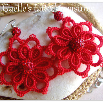 One night out' hand tatted red earrings