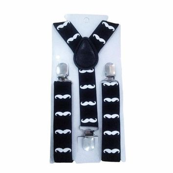 Cute Print Mustache Suspenders Belts For Kid Strap Adjustable Elastic Clip On Baby Boy Clothing Accessories