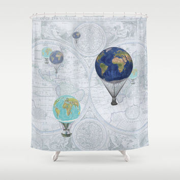 Hot Air Balloons Shower Curtain - Fanciful World Flight - Globes, airships, dreamy, pastels, world map, travel decor