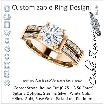 Cubic Zirconia Engagement Ring- The Rachana (Customizable Round Cut Design with Wide Split-Pavé Band and Euro Shank)