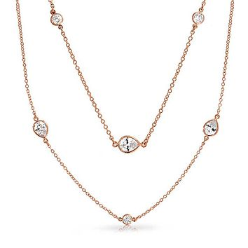 Long Rose Gold Plated CZ Tin Cup Chain Endless Wrap Layer Necklace