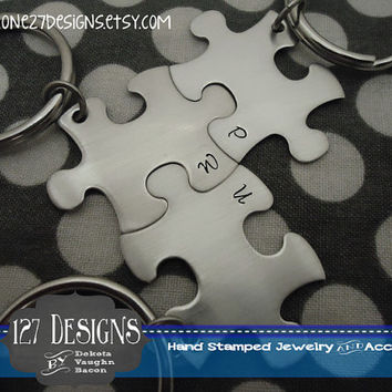 Personalized Set of 3 Initial ONLY Puzzle Piece Key Chains -Bridesmaids - Best Friends - Hand Stamped ships within 3 days