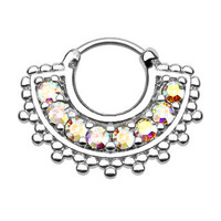 Large Paved CZ Gem Fan Septum Clicker