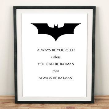 diy gifts kid printable kids gift little boy decor Batman Print funny batman ornament super hero print Superhero Decor printable kid quotes
