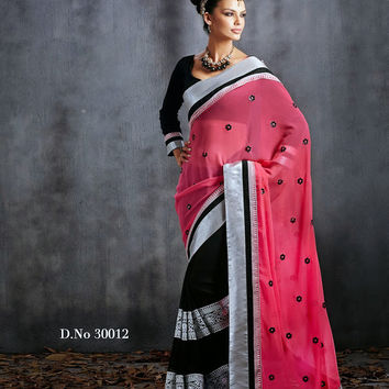 Bollywood Style Printed Hot Pink Designer Saree D-30012