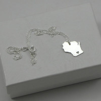 Sterling Silver State Love Heart Necklace - Wisconsin