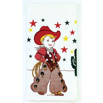 Set of 2 Vintage Style Flour Sack Kitchen Towels. Little Cowboy Kitchen Towel