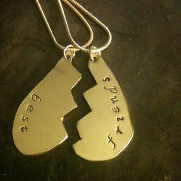 BEST FRIENDS FOREVER -heart pendant in 2 part -38.00 hand stamped,personalized  custom  gift