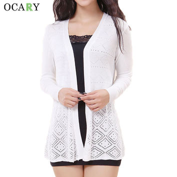Hollow Out Women Sweater Knitted Long Cardigans Summer Cardigan Beach Blusas 2016 Crochet Gilet Manche Longue Cotton Big Size