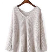 { 3 Colors } Slit V-neck Asymmetric Raglan Knit Oversize Sweater