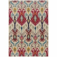 Kaleidoscope Ivory Red Abstract Floral Transitional Rug
