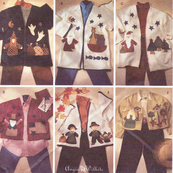 Simplicity Crafts Sewing Pattern 7032 Womens Appliqued Holiday Jackets in Two Lengths by Angie Wilhite Size 12 14 16 Bust 34 36 38 UnCut