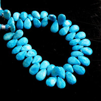 Howlite Dyed Turquoise Gemstone Briolette Blue Faceted Pear Teardrop 11 to 12mm 1/2 Strand 22 beads
