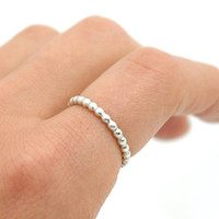 Simple Sterling Silver Stack Bead Ring - Beaded Wire Ring Above Knuckle Ring - Basic Dots Ring, Ball Ring