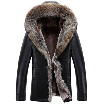 Winter Thicken Faux Fur Jacket Men Long Hooded Black Men Coat