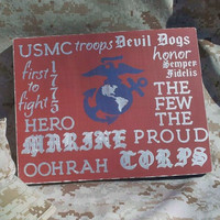 Wood Sign - Marine Corps Typography, Wall Decor, Military, USMC, Logo