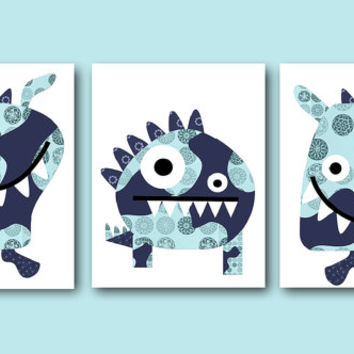 Kids Wall Decor Monsters Nursery Baby Boy Nursery Decor Children Art Print Baby Nursery Print Nursery Print Boy Art set of 3 11x14 Blue Navy