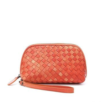 Colors Fashion Sheepskin Hand-Woven Knitting Women Clutch Bags Genuine Leather Clutches