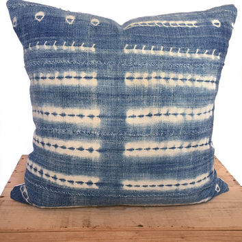 18 Inch Vintage Indigo African Mud Cloth Pillow Cover