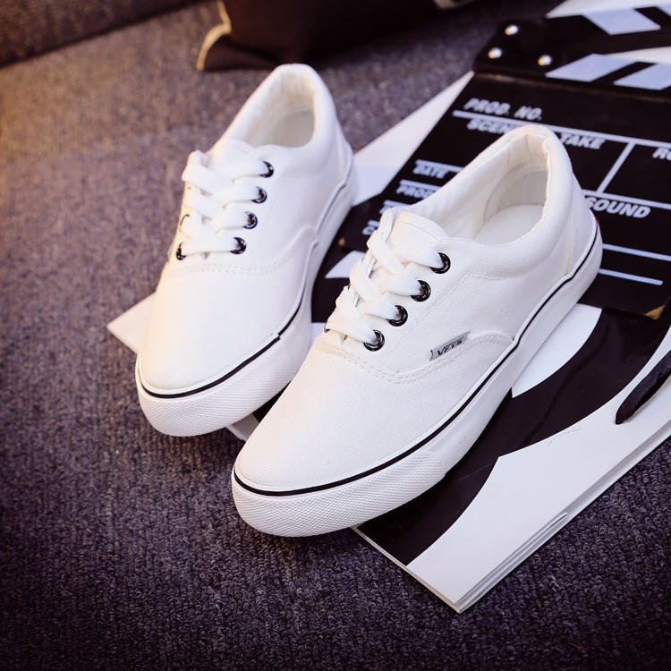 Vans Fashion Women Casual Shoes Woman Skateboard Canvas Shoes Female Flat  Basket Black 8237cc37d
