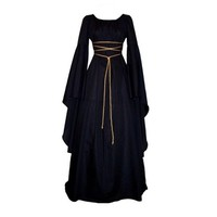 Women Medieval Vintage Victorian Renaissance Gothic Costume Ball Gown Long Sleeve Floor-Length Dress